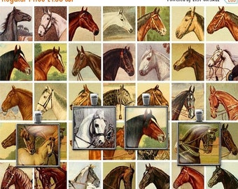 ON SALE 30% OFF Printable Vintage Horses Digital Collage Sheet - 1 Inch squares - Jpg - Pdf - Instant Download - Downloadable - Commercial u