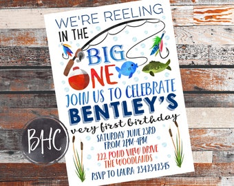 Fishing Birthday Invite. BIG ONE invitation. 1st birthday invite. Fishing party. Big one Party invite. Big one Birthday. the big one party.