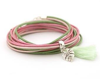 Monstera Palm Leaf Bracelet, Green Rose Fringe Bracelet, Botanical Hippie Bracelet, Tropical Leaf bracelet, summer trends