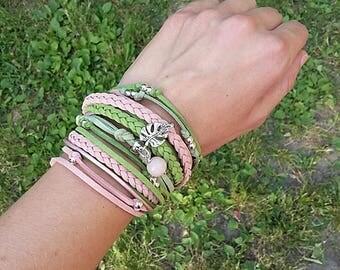 Monstera Palm Leaf wrap Bracelet, Green Rose Summer Bracelet, Botanical Hippie Bracelet, Tropical Leaf philodendron bracelet, summer trends