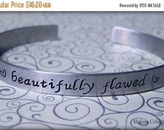 15% off entire shop Beautifully Flawed hand stamped aluminum cuff bracelet