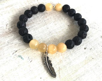 SALE: Feather & Calcite Gemstone Lava Aromatherapy Bracelet - 3rd Chakra - Positivity. Cleansing. Energizing. - ZEN by Karen Moore Jewelry