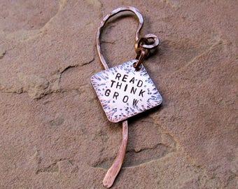 "Handmade Copper Bookmark ""Read, Think, Grow"""