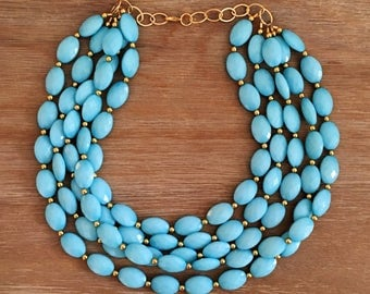 Our Cabana Necklace Robins Egg Blue Statement Necklace Blue Necklace Bridal Jewelry