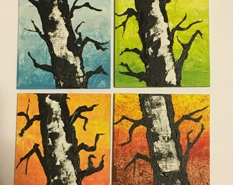 """Handmade/Hand Painted Original Square Art Magnets; 2.5"""" Square of Minnesota Up North Birch Trees through the Seasons; Listing is for ONE"""