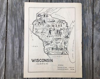 Wisconsin Map Print / Vintage Map Art / State Wall Decor / Original Coloring Book Page / Old Map Illustration / Travel Map / WI Map Artwork