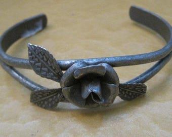 Grey Floral Cuff Bracelet, Vintage Jewelry, Adjustable, Rose Bracelet