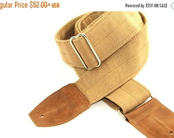 ON SALE this week only Guitar Strap with Premium Leather - Textured Ginger Linen