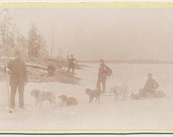 Gold Rush Mining 1880s 1890s Dog Sled Mine Centre Ontario Canada Cabinet Card 19th century miners Woodside & Hall