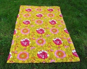 Vintage Floral Quilt, Mid Century Single Cotton Quilt, Yellow Magenta Orange Pink Floral Pattern, Bright Flower Power Blanket, East Germany