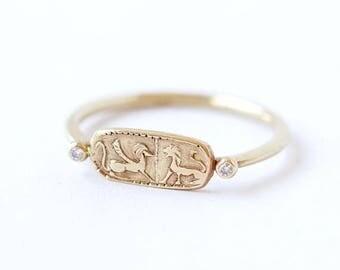 ON SALE Gold Signet Ring - Gold Lion Ring - 18k Solid Gold