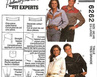 ON SALE Misses, Men's or Teen Boys Western Shirt Pattern, McCall's 6262, Size X-Large 42-44, Uncut