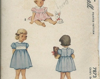 ON SALE VTG 1940s McCall 7873 Infant  Size 6 Months  Dress Pattern