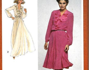 ON SALE Simplicity 9655 Misses Deep V-Neck Pullover Dress With Cascading Ruffle, Sewing Pattern, 12, 14 & 18-20, Uncut