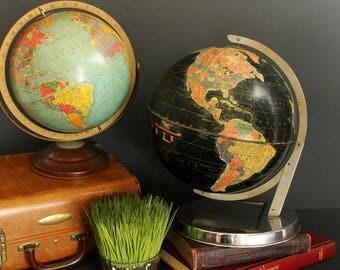 "Vintage Globe Black 1950s Replogle 12"" Starlight Globe with Chrome Base and Bracket"
