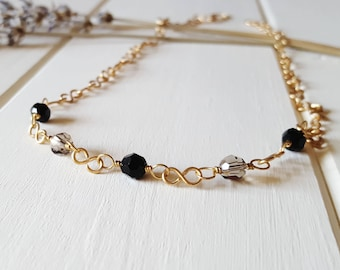 Susan - Jet Black & Gray Golden Necklace, Ready to Ship