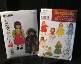 Lot of two 18 inch Doll Clothes Patterns, retro styles, Simplicity Archives 4347 and See & Sew 5671, dresses, coat, cape, nightwear, more
