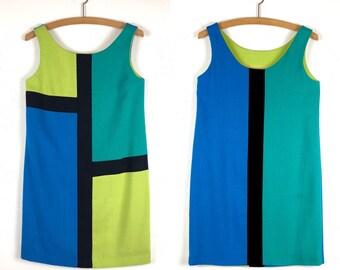 90s Does 60s Mod Dress | Mondrian Style Colorblock