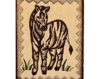 ID 0760 Zebra Portrait Patch Zoo Badge Picture Embroidered Iron On Applique