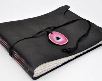 "Handmade Leather Journal 9 1/2"" x 12 1/2"" - 140 lb watercolor paper - Sketchbook"