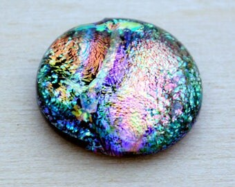 Dichroic Cabochon, 14 mm x 15 mm, Jewelry Cab, Mosaic Glass Tile, Accent Tile, Bead Embroidery Cabochon