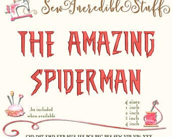Spiderman Machine Embroidery Font, 4 sizes