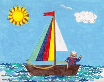 Sailboat and Teddy Bear Kids Art, Acrylic Childrens Print, Boat on Sea Painting, Bedroom Decor, Nautical Picture, Sailing Wall Art, Boys