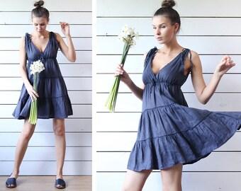 Vintage navy blue linen V neck back elastic empire waist tiered summer mini midi dress S