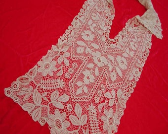 """No. 100 Antique French Ivory Bodice Insert; Chemical and Handmade Lace 10"""" x 24"""""""