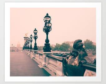 SALE Paris photography, Paris wall art, Paris canvas, Pont Alexandre III, Paris print, Pink Paris art, Paris architecture, large wall art