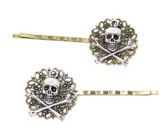 Lot 2 bars fine silver metal pirate skull silver