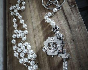 Rosary chaplet ivory pentagram beads anchor tattoo gun ♰Sailor Jerry♰ gun