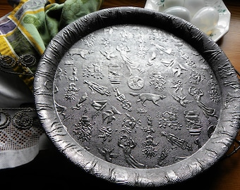 Primitive Rare French Bakery 1800s x-Large FOLK ART Tinware Double Rimmed Embossed Printed Story, Object Tray/ Bake Shop Platter