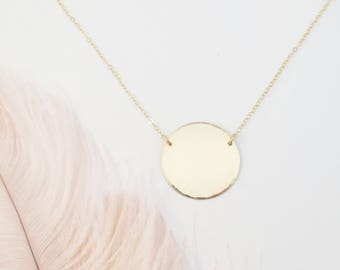 Hammered Edge Gold Disc Necklace, Large Pendant, Circle Jewelry, Layering Design, Bridal, Wedding, Bridesmaids, Mother's Day, Valentine's
