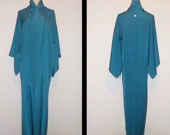 Vintage kimono - Damask silk, Pine needle, Teal blue