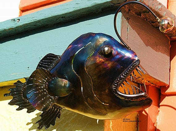"Burglars Beware, 12"" Angler Fish, wall piece, Indoor finish, made to order"
