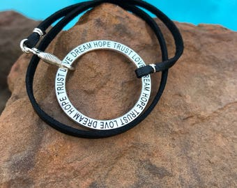 Inspiration Wrap Bracelet with Black Leather - Dream, Hope, Trust, Love