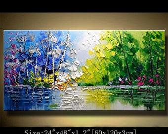 contemporary wall art,Palette Knife Painting,colorful Landscape painting,wall decor,Home Decor,Acrylic Textured Painting ON Canvas Chen 0616