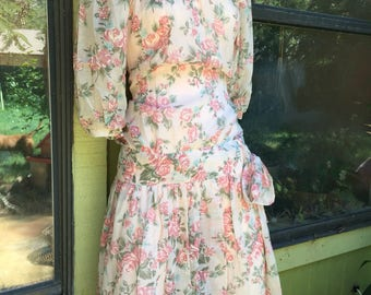 1980s Nina Piccalino sheer floral lace dress.