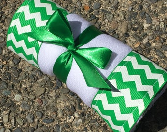 Burp Cloth / Changing Pad: Green Chevrons, Personalization Available
