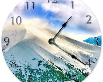 "10.5"" MOUNTAIN Clock - WHITE Clock - Living Room Clock - Large 10.5"" Wall Clock - Home Décor Clock - 5870"