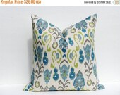 15% Off Sale Decorative Throw Pillows Throw Pillow Covers ONE 22X22 Blue Green Pillow Burlap Pillow Ikat Pillow Printed fabric both sides