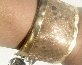 Python Gold Embossed  Leather Brass Cuff  Scrap Metal Bracelet Bangle Unisex Industrial Rustic Distressed Destroyed Biker Skull Charm OOAK