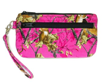 Hot Pink Camo Wristlet Purse - Cell phone purse  - Small purse - Cell Phone pouch - Made with Realtree Pink Camouflage fabric