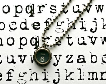 Vintage 1940s Upcycled Typewriter Key Necklace-Number 6 -Unisex Jewelry-Technology Geeks-by OldTimeVintageFinds