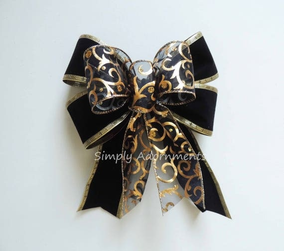 Black Velvet Gold swirls Bow Black gold Christmas Wreath Bow Gold Black Wedding Pew Bow Christmas swag Bow Black Gold New Year party Decor