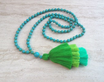 Layered Tassel Necklace Turquoise Bead Tassel Necklace Hand Knotted Beaded Tassel Necklace Tiered Tassels Long Tassel Stack Necklace