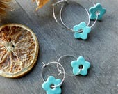 Flower Ceramic Earrings, Purple Hoop, Turquoise Earrings,  Sterling Silver Plated Hoop, Earrings Minimalist Ceramic Jewelry