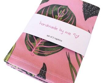 Foliage on Pink Napkins (set of 2)