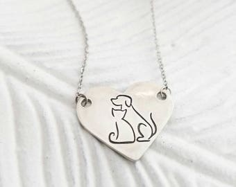 Animal lover necklace, dog and cat owner jewelry, fur mom necklace, veterinarian gift, animal adoption necklace, dog cat lover necklace